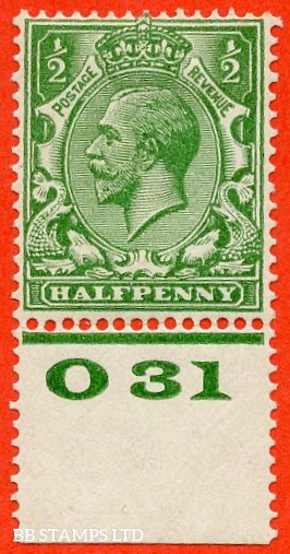"""SG. 418 variety N33 (4). ½d Bright Green. A fine mounted mint control """" 031 perf """" example with the RARE perf type 3A. This being the 2nd example we have handled. With RPS certificate."""