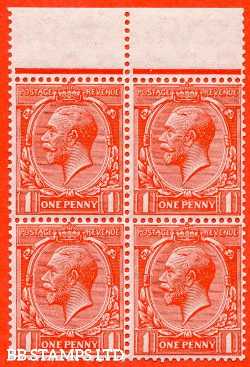 """SG. 419b. N34 (1) a. 1d Scarlet. """" Experimental paper """".  A Super UNMOUNTED MINT top marginal block of 4 of this scarce George V watermark variety."""