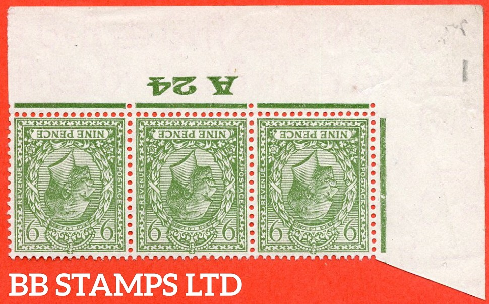 """SG. N43 (2) a. 9d pale olive green. INVERTED WATERMARK. A very fine UNMOUNTED MINT ( mounted in the margin only ) control """" A24 imperf """" strip of 3. Perf type 2 from plate 2."""