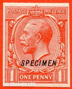 "SG. 419. N34 (1) u. 1d scarlet. A very fine lightly mounted mint example overprinted "" SPECIMEN "" type 23 imperf."