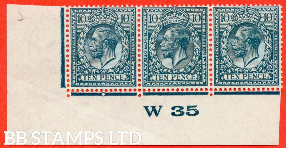 "SG. N44 (4). 10d deep dull greenish blue. A fine UNMOUNTED MINT control "" W35 imperf "" strip of 3. Perf type 2 and plate 2b. Very light crease in the margin."