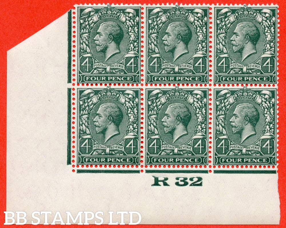 """SG. 424. N39 (2). 4d grey green. A super totally UNMOUNTED MINT control """" R32 imperf """" block of 6. Perf type 2."""