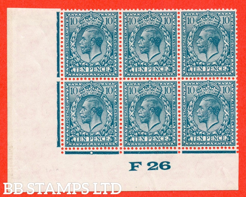 """SG. 428. N44 (1). 10d Turquoise Blue. A very fine UNMOUNTED MINT ( mounted in the margin only ) control """" F26 imperf """" block of 6. Perf type 2."""