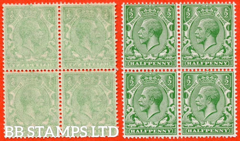 "SG. 418. N33 (1). ½d Green. A superb mint block of 4 with a "" COMPLETE OFFSET "" error. Complete with normal for comparison."