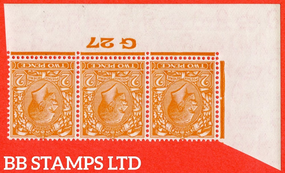 SG. 421 wi. N36 (1). 2d Orange. A SUPERB unmounted mint control ' G27 Imperf -- perf type 2 -- from plate 7 ' INVERTED WATERMARK strip of 3.