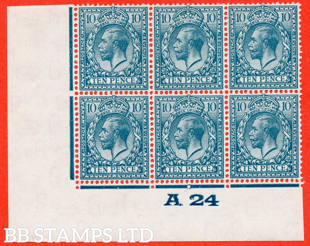 """SG. 428. N44 (1). 10d Turquoise Blue. A superb totally UNMOUNTED MINT control """" A24 imperf """" block of 6. Perf type 2. A VERY RARE block of one of the most difficult controls to find on the 10d value."""