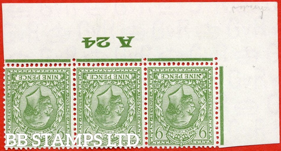 """SG. 427 wi. N43 (1) a. 9d olive green. INVERTED WATERMARK. A super UNMOUNTED MINT control """" A24 Imperf """" strip of 3."""