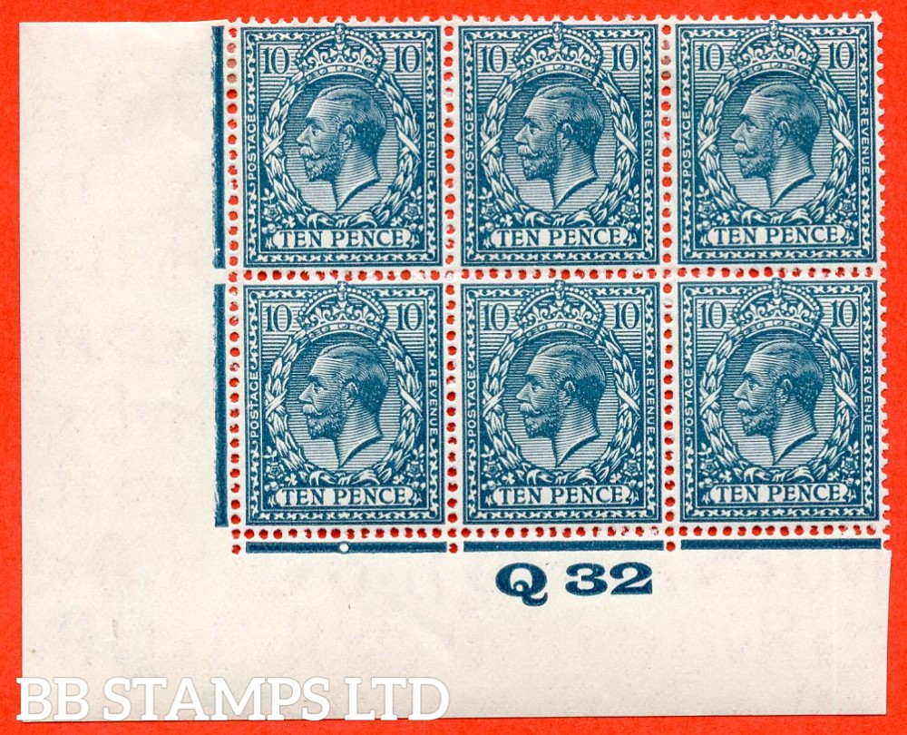 "SG. N44 (2). 10d deep greenish blue. A very fine mint control "" Q32 imperf "" block of 6. Perf type 2 and plate 2b."