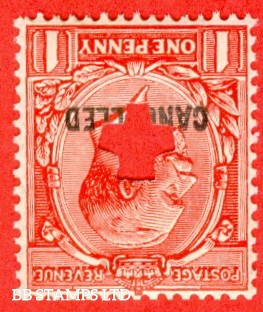 """SG. 419 wi. N34 (1) b y. 1d Scarlet. A fine UNMOUNTED MINT example with INVERTED WATERMARK """" PUNCHED """" and overprinted """" CANCELLED """" type 33p."""