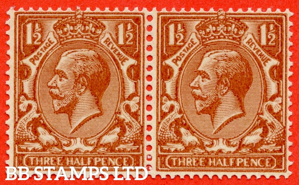 "SG. 420c. N35 (1) c. 1½d red - brown. "" PRINTED ON THE GUMMED SIDE "". A superb UNMOUNTED MINT horizontal pair of this very difficult George V variety. A RARE multiple."