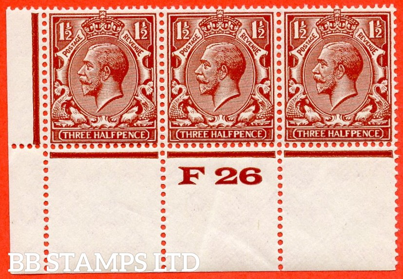 "SG. N35 (2). 1 ½d Deep Red-brown. A fine UNMOUNTED MINT control "" F26 perf "" strip of 3 with the very scarce perf type 2A."