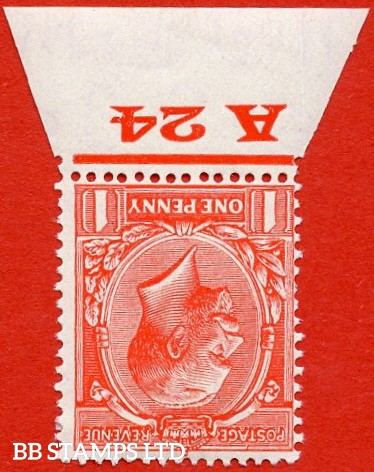 """SG. 419 wi. N34 (1) b. 1d scarlet. INVERTED WATERMARK. A very fine lightly mounted mint control """" A24 imperf """" single. Ex the famous Marsh & Brocklehurst collections."""