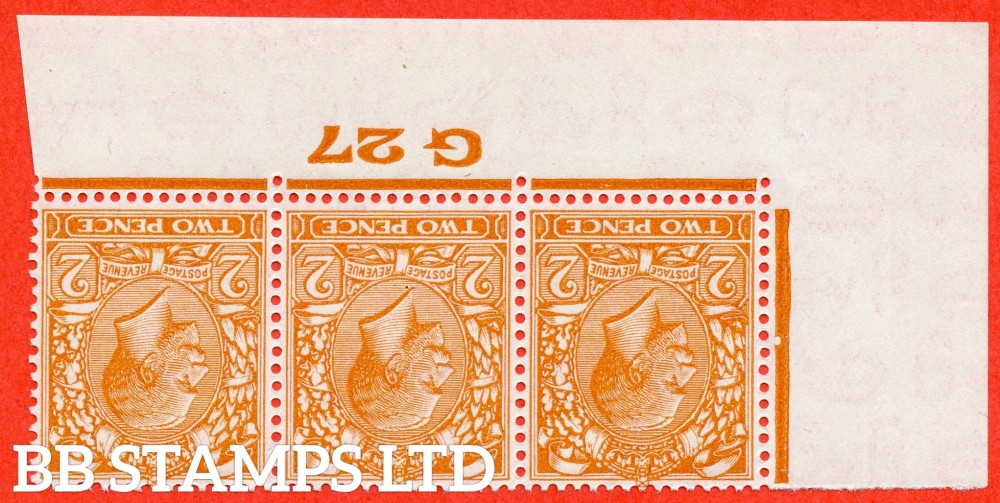 SG. 421 wi. N36 (1) b. 2d Orange. A SUPERB unmounted mint control ' G27 Imperf -- perf type 2 -- from plate 7 ' INVERTED WATERMARK strip of 3.