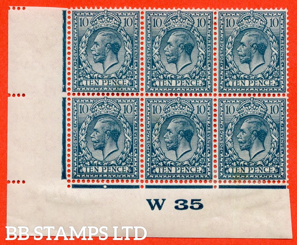 "SG. N44 (3). 10d deep dull greenish blue. A fine mint control "" W35 imperf "" block of 6. Perf Type 2. A scarce block these days."