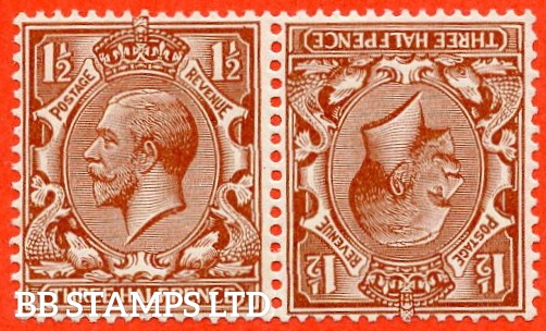 SG. 420 a. N35 (1) a. 1½d red - brown. Tete - beche pair. A fine mounted mint example.