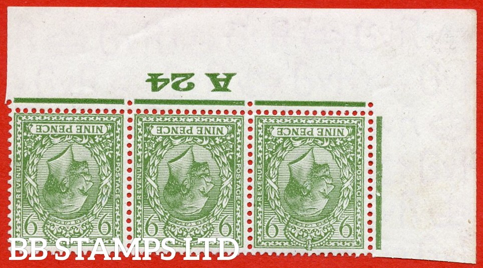 """SG. 427 wi. N43 (1) a. 9d olive green. INVERTED WATERMARK. A super UNMOUNTED MINT control """" A24 Imperf """" strip of 3 from plate 2."""