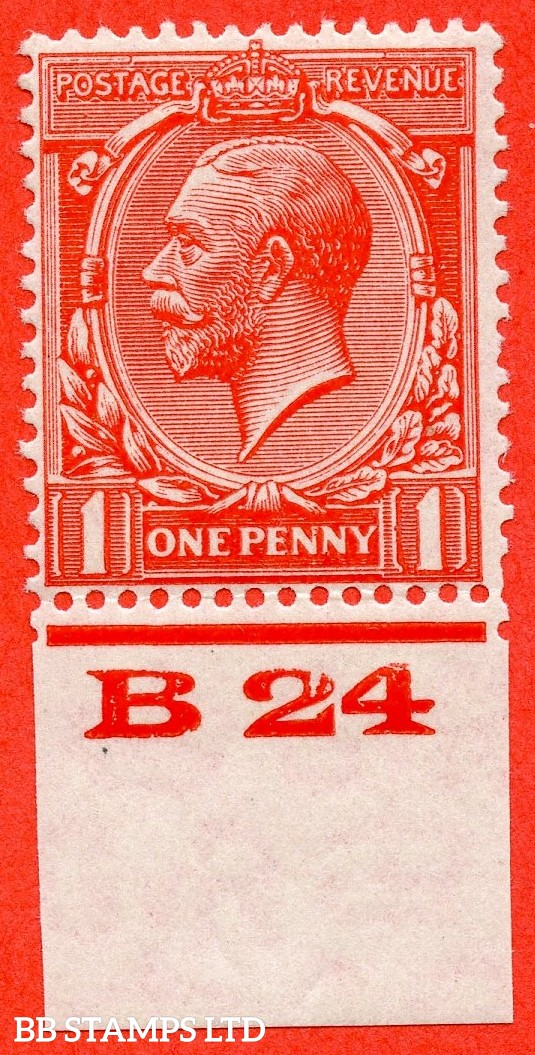 "SG. 419b. Variety N34 (3) a. 1d Scarlet Vermilion. "" Experimental paper "".  A very fine lightly mounted mint control "" B24 imperf "" example."