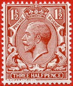 SG. 420 variety N35 (UNLISTED).  1½d bright red brown. A very fine UNMOUNTED MINT example of this known but unlisted by SG. George V shade variety.