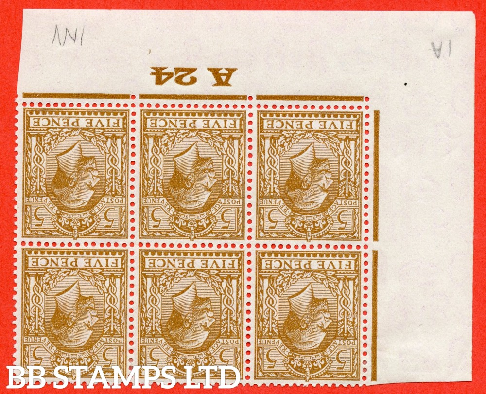 """SG. 425 wi. N40 (1) a. 5d brown. INVERTED WATERMARK. A fine mounted mint ( 3 stamps UNMOUNTED MINT ) control """" A24 imperf """" block of 6. Very scarce to find with control number attached."""