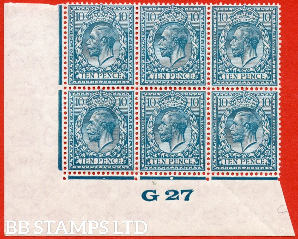 "SG. N44 (UNLISTED). 10d bright turquoise blue. A very fine mint  ( 5 stamps UNMOUNTED MINT ) control "" G27 Imperf -- perf type 2."