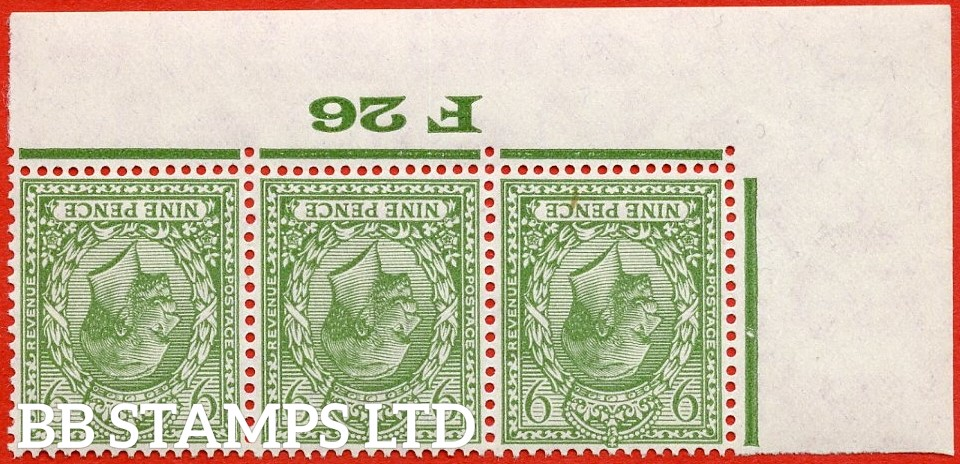 """SG. 427 wi. N43 (1) a. 9d olive green. INVERTED WATERMARK. A super UNMOUNTED MINT control """" F26 Imperf """" strip of 3."""