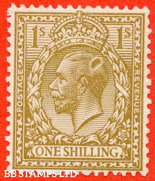 "SG. 429. N45 (1). 1/- bistre brown. A very fine UNMOUNTED MINT example with a super printing ERROR "" Blob at back of Queens head ""."
