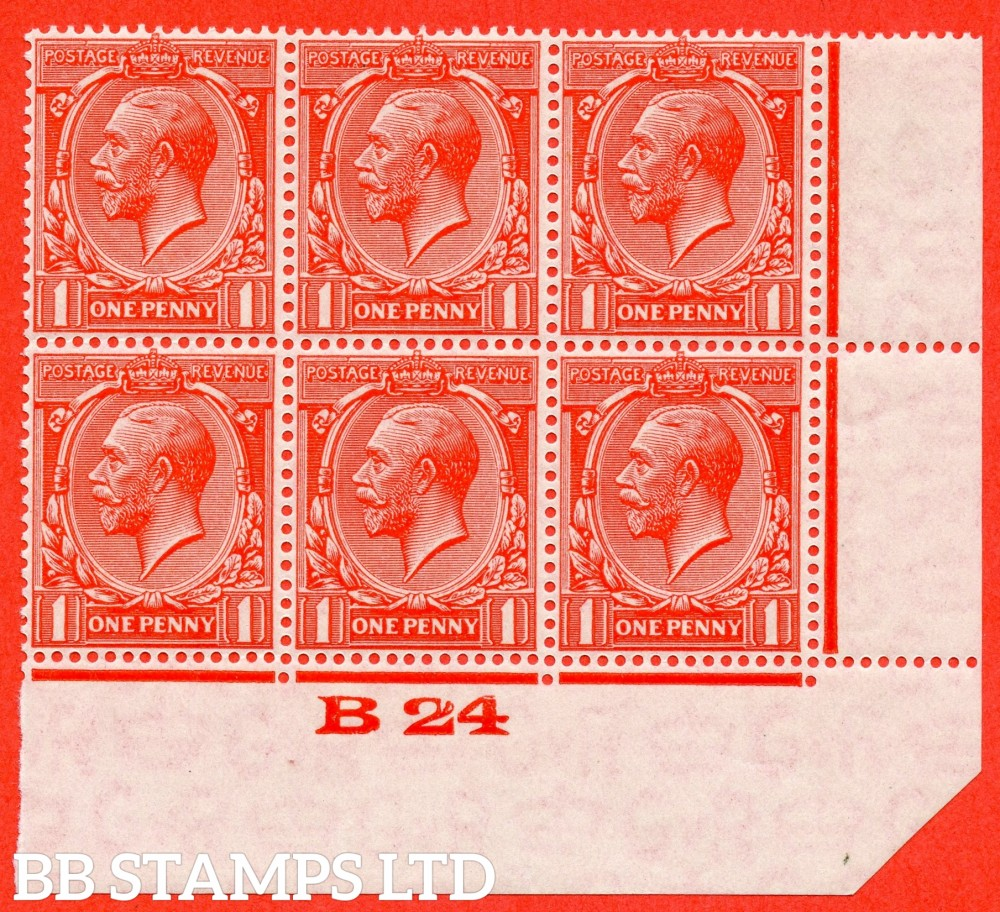 """SG. 419b. Variety N34 (3) a. 1d Scarlet vermilion. """" Experimental paper """".  A very fine totally  UNMOUNTED MINT control """" B24 imperf """" block of 6 with the bottom right hand corner cut at an angle as always."""