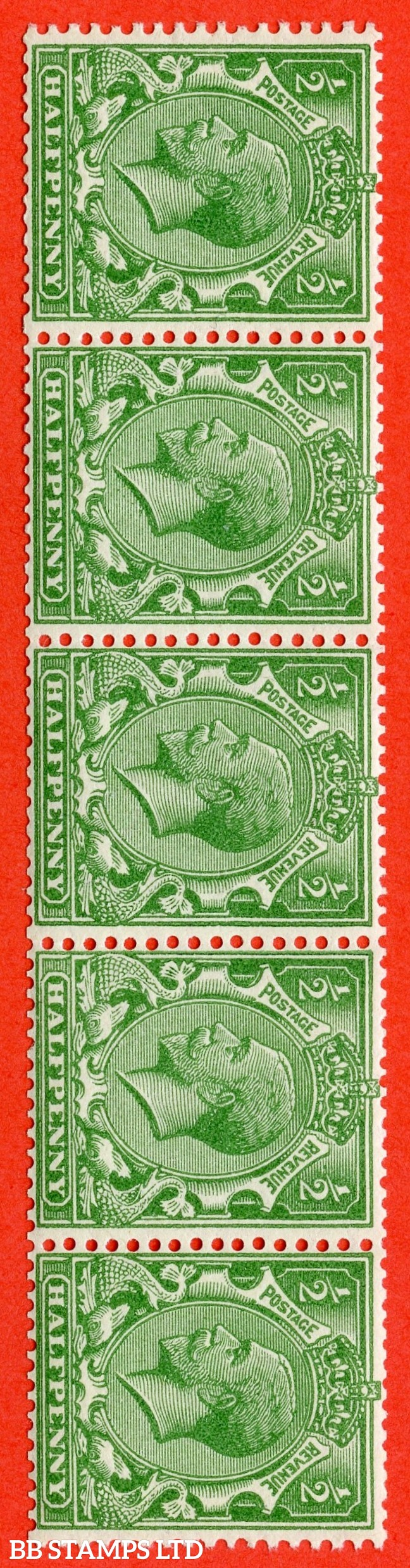 SG. 418 awi. N33 (1) c. ½d green. SIDEWAYS & INVERTED WATERMARK. A superb UNMOUNTED MINT horizontal strip of 5 of this very RARE George V watermark variety.