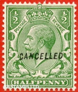 """SG. 418. N33 w. ½d green. A super UNMOUNTED MINT example overprinted with """" CANCELLED """" type 28."""