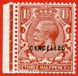 """SG. 420. N35 (1) w. 1½d red - brown. Overprinted """" CANCELLED """" type 28. A superb UNMOUNTED MINT EXAMPLE."""