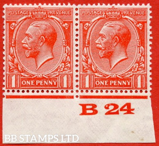 "SG. 419b. N34 (1) a. 1d Scarlet. "" Experimental paper "".  A very fine UNMOUNTED MINT control "" B24 imperf "" pair."