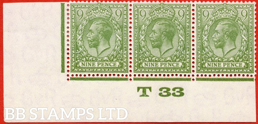 "SG. N43 (4). 9d olive yellow green. A very fine mint control "" T33 Imperf -- perf type 2 -- from plate 2 "" strip of 3."
