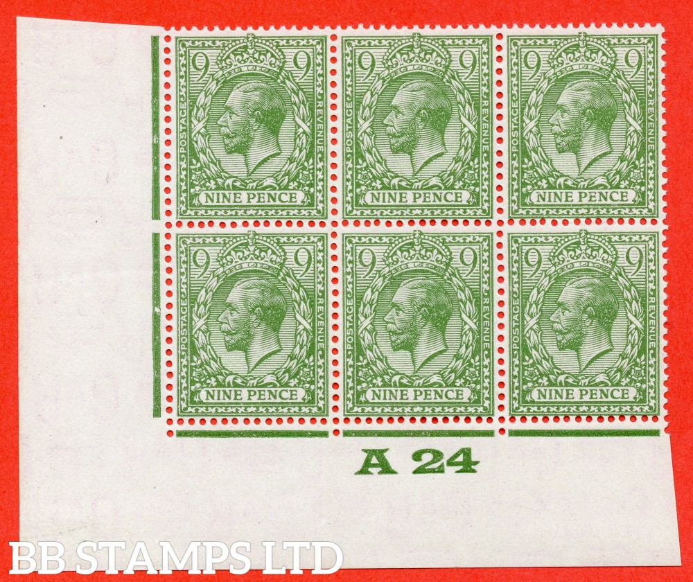 "SG. 427 wi. N43 (1) a. 9d olive green. INVERTED WATERMARK. A super UNMOUNTED MINT control "" A24 Imperf "" block of 6 from plate 2."