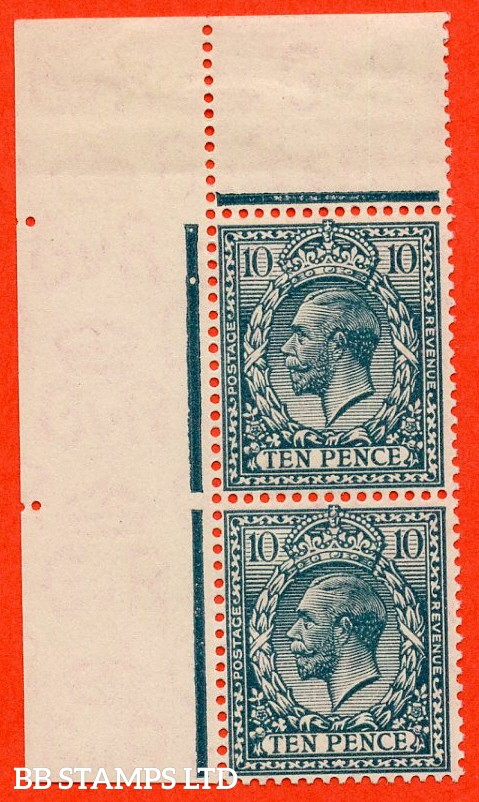 SG. N44 (3). 10d deep dull greenish blue. A fine mint top left hand corner marginal vertical pair with the plate 3 marking. A very scarce positional piece.