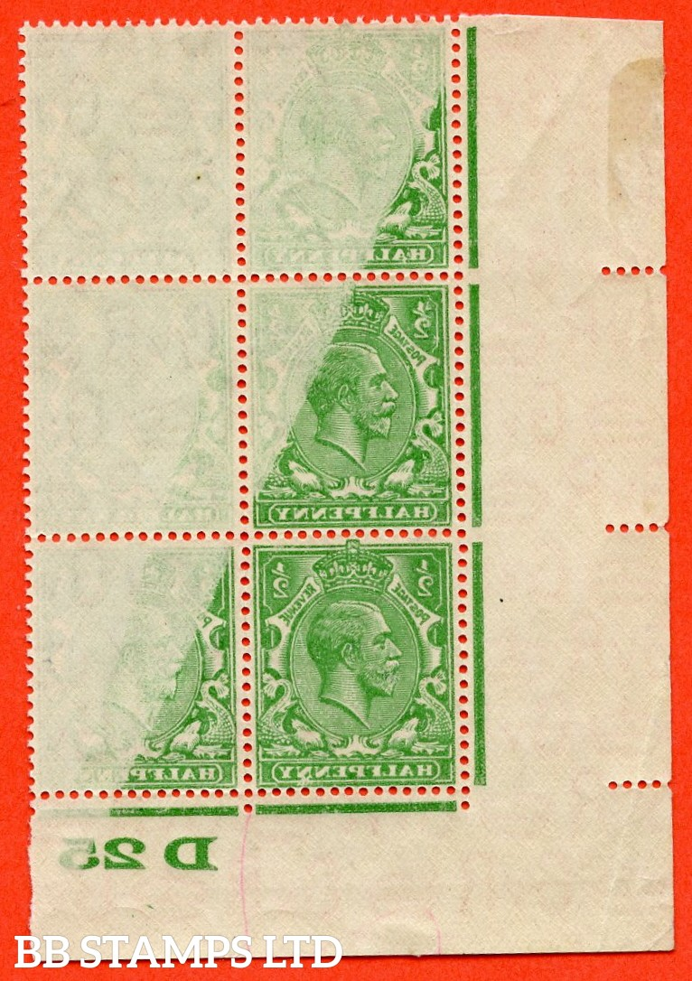"SG. 418. N33 (1). ½d Green. A super mint control "" D25 imperf "" block of 6 with a cracking "" OFFSET "" error."