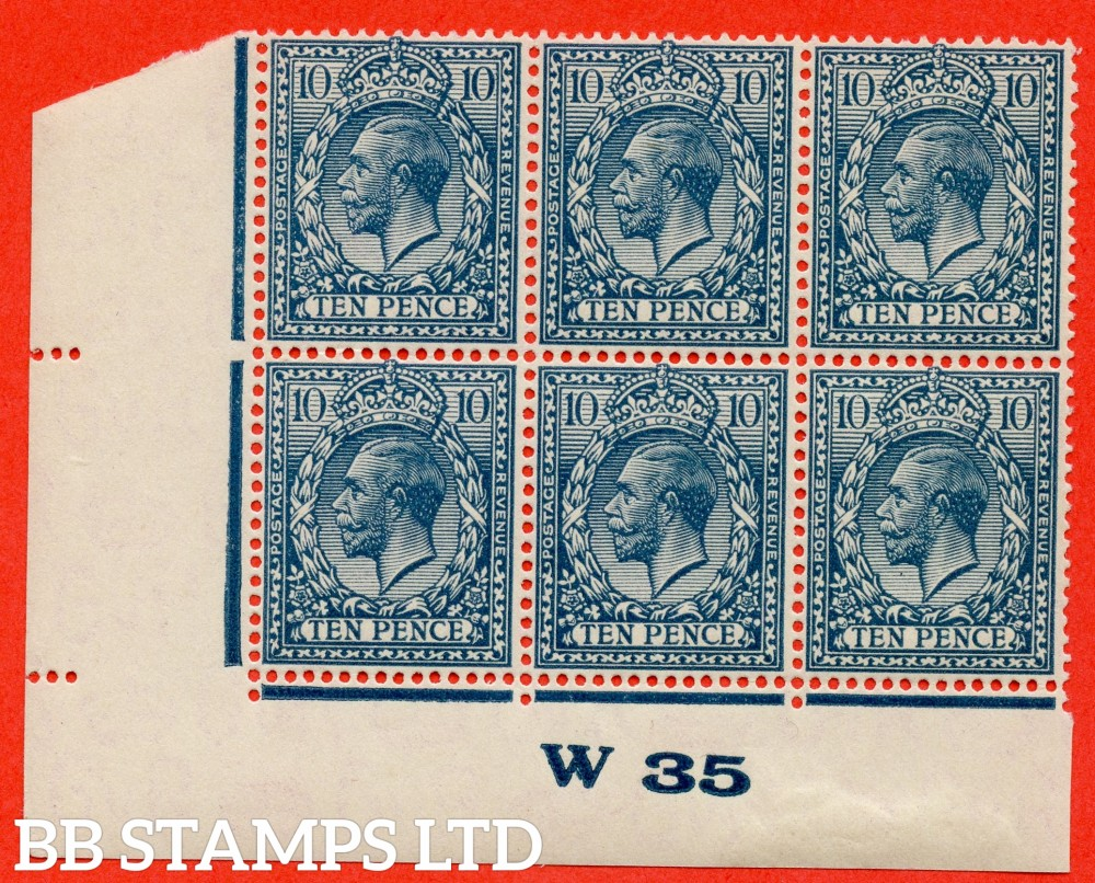 """SG. N44 (3). 10d dull greenish blue. A superb totally UNMOUNTED MINT control """" W35 Imperf """" block of 6. Perf type 2"""