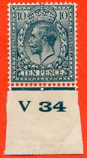 """SG. N44 (3). 10d dull greenish blue. A very fine mounted mint control """" V34 Imperf """". Perf type 2 example."""