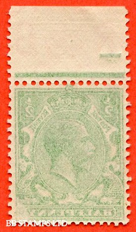 "SG. 418. N33 (1). ½d Green. A super UNMOUNTED MINT top marginal example with a "" COMPLETE OFFSET "" error."