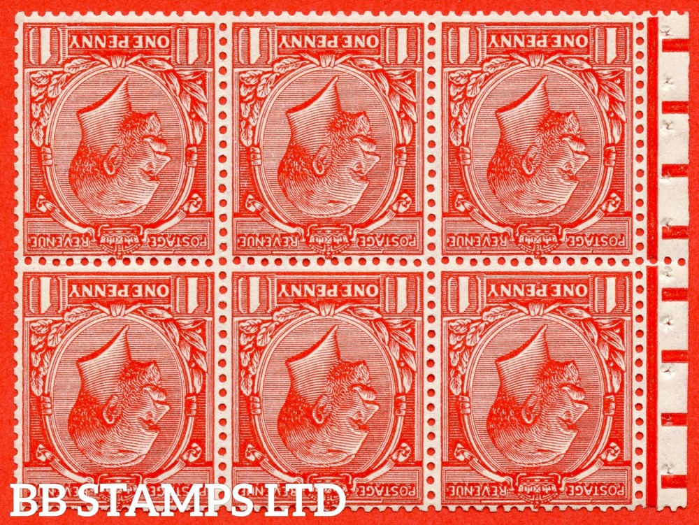 SG. 419 ew. NB13a. N34 (1) B. 1d scarlet. INVERTED WATERMARK. A fine UNMOUNTED MINT complete booklet pane with selvedge. Perf type ' P '.
