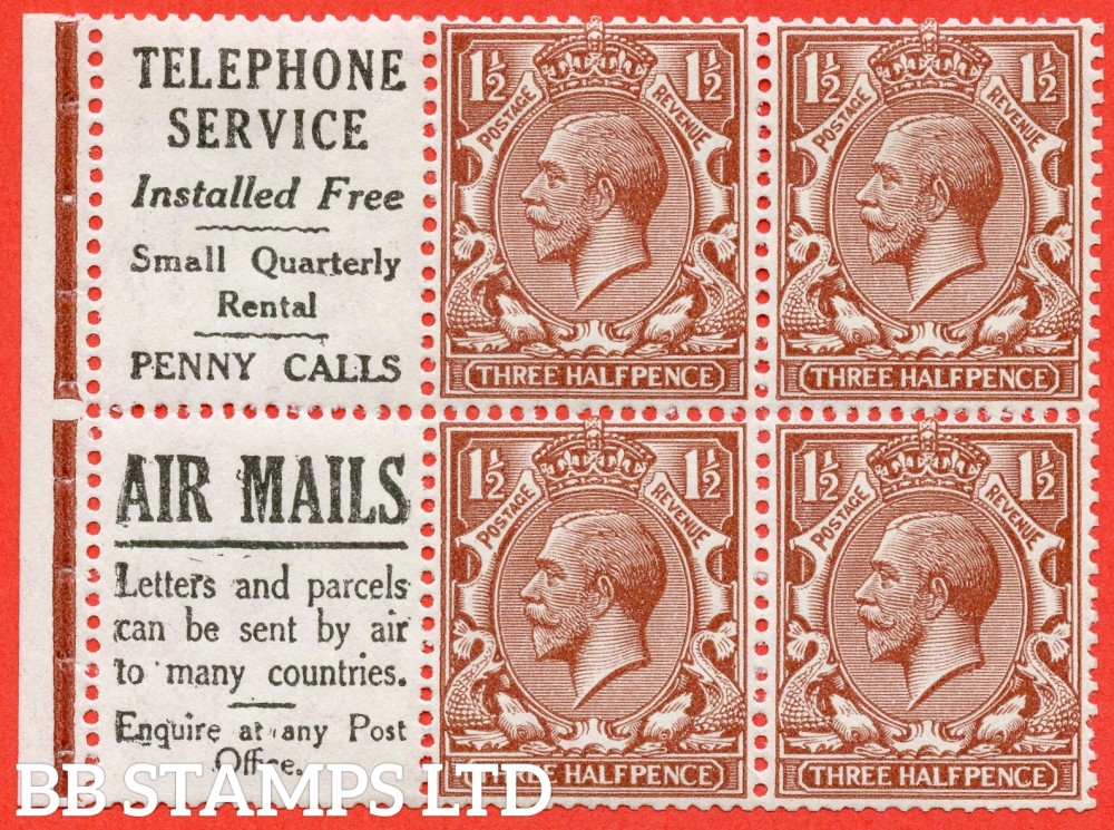 "SG. 420 d. NB15 (9). 1½d Red - Brown. A fine UNMOUNTED MINT complete booklet pane with selvedge. Perf type "" I ""."