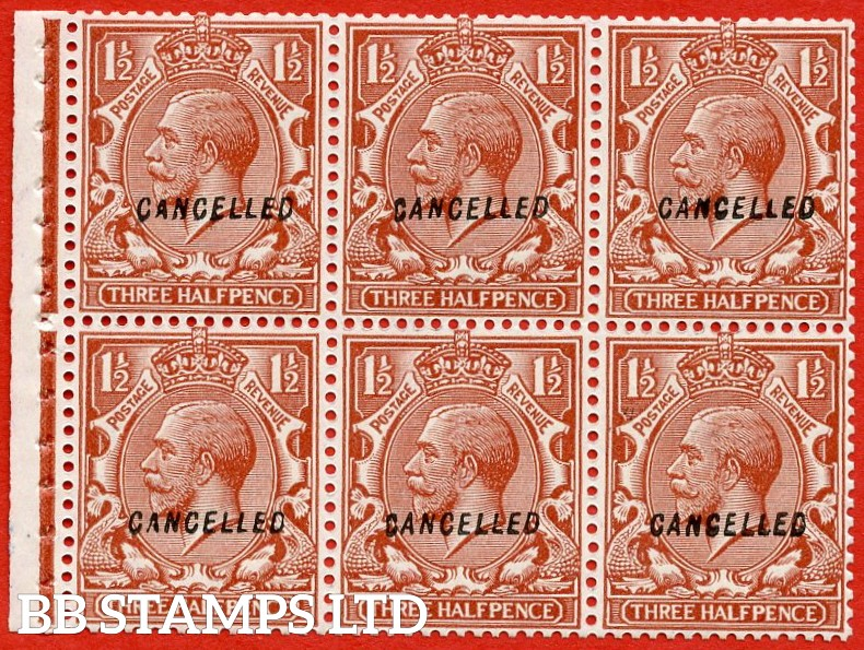 "SG. NB14 v. 420. N35 (1) w. 1½d red - brown. Overprinted "" CANCELLED "" type 28. A superb UNMOUNTED MINT booklet pane with perf type "" I ""."