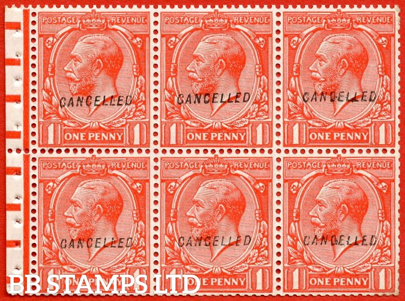"SG. NB13 v. 419. N34 (1) w. 1d scarlet. Overprinted "" CANCELLED "" type 28. A very fine mint booklet pane with perf type "" P ""."
