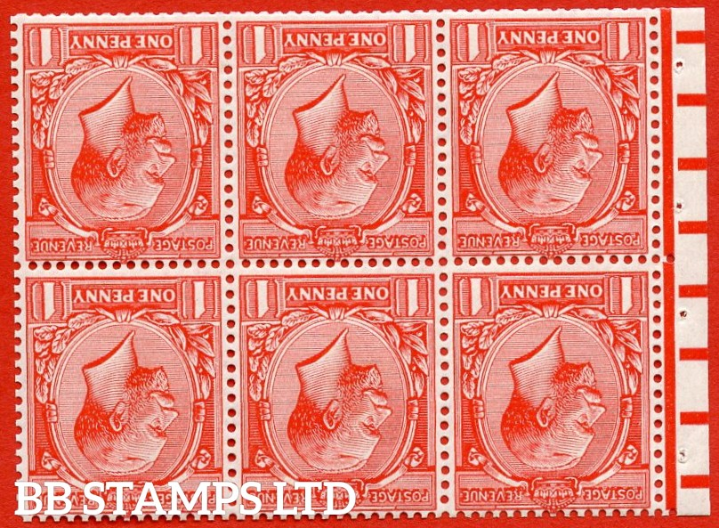 "SG. NB7a. 357wi. N16 (1) b. 1d bright scarlet. INVERTED WATERMARK. A very fine lightly mounted mint booklet pane with perf type "" E ""."