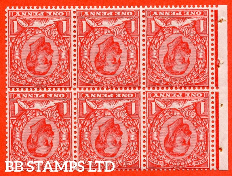 SG. NB5a. N10 (2) b. 1d pale scarlet. Die 1B. INVERTED WATERMARK. A very fine UNMOUNTED MINT complete booklet pane. Perf type E.