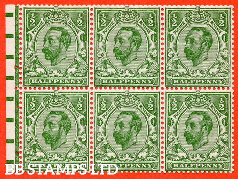 SG. NB2. SG. 335. N3 (1). ½d green. Die 1B. A fine UNMOUNTED MINT complete booklet pane. Perf type E.