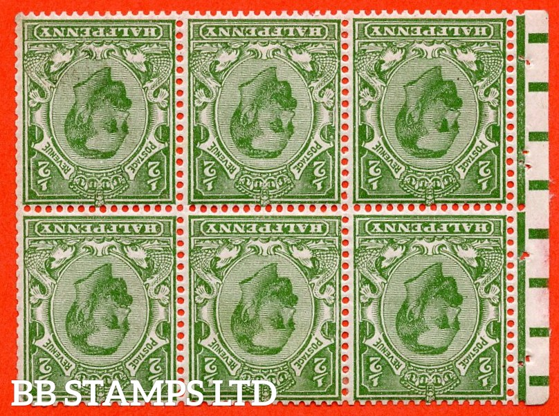 SG. NB2 a. SG. 334 wi. N3 (2) b. ½d green. Die 1B. INVERTED WATERMARK. A fine mint complete booklet pane. Perf type E.