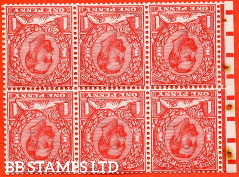 SG. NB5a. N10 (2) b. 1d pale scarlet. INVERTED WATERMARK. A super UNMOUNTED MINT complete booklet pane. Perf type E.