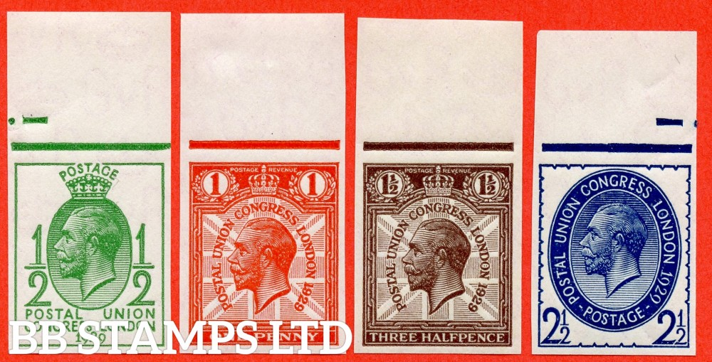 SG. 434 - 437. NCom5 - Ncom8.  ½d - 2½d. 1929 Postal union Congress. IMPRIMATUR. A superb UNMOUNTED MINT top marginal complete set of 4 all backstamped ' BPMA '. A RARE set of George V.