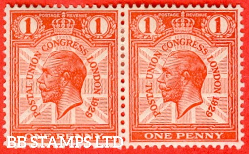"""SG. 435. NCom6 d. 1d scarlet. A fine mounted mint horizontal pair with the right hand stamp clearly showing the listed variety """" Broken wreath at left ( plate 4 Row 19/12  """"."""