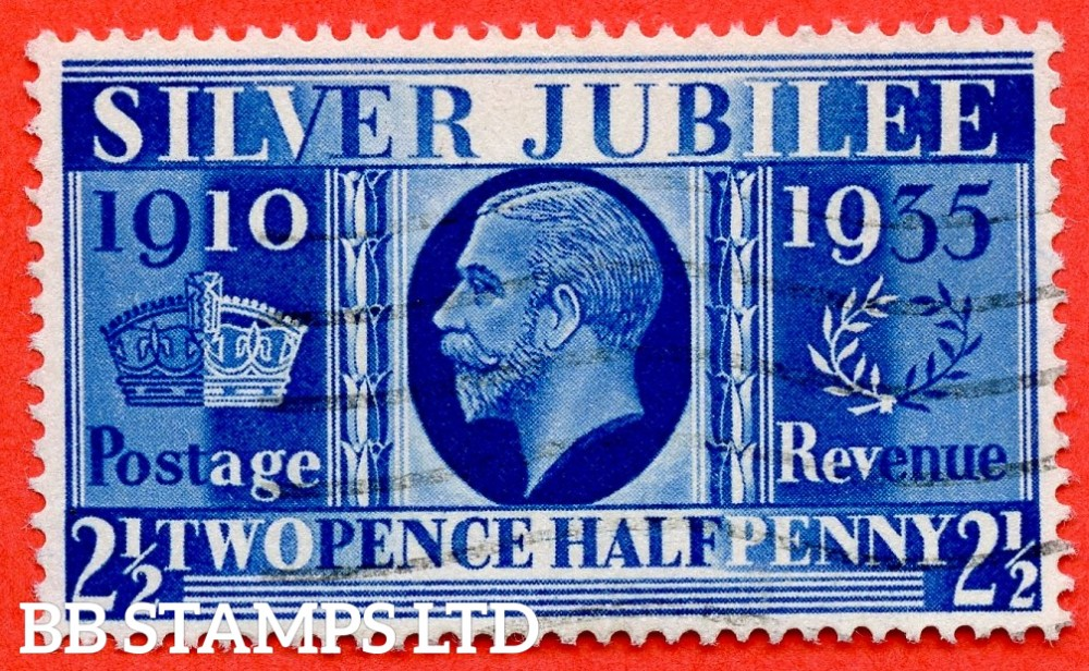 "SG. 456a. NCom14. 2½d Silver Jubilee "" Prussian Blue "".  A fine used example of this RARE George V shade ERROR complete with RPS certificate. A VERY RARE stamp in fine used condition."
